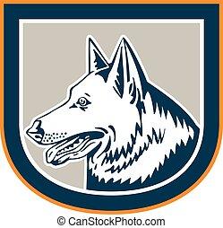 German Shepherd Dog Head Shield Retro