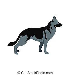 German Shepherd dog icon, flat style