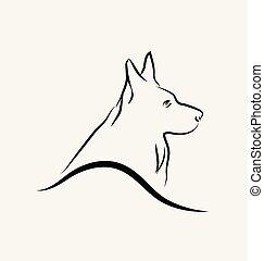 German Shepherd dog, line art vector