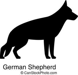 German Shepherd dog silhouette, side view, vector