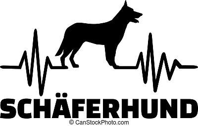 German Shepherd frequence german - Heartbeat pulse line with...