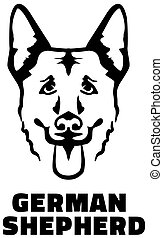 German Shepherd head black and white - German Shepherd head...