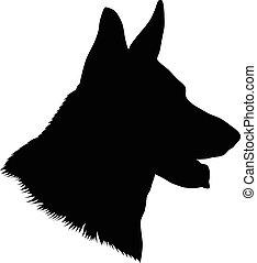 German Shepherd Head Silhouette - German shepherd dog head,...