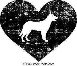 German Shepherd heart black - German Shepherd silhouette in...