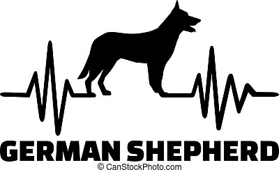German Shepherd heartbeat with silhouette - Heartbeat pulse...