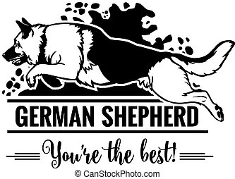 German Shepherd in jump - Dog Set Happy Face Paw Puppy Pup Pet Clip Art K-9 Cop Police Logo SVG PNG Clipart Vector Cricut Cut Cutting - vector illustration for t-shirt, logo and template badges in monochrome style