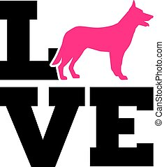 German Shepherd Love Silhouette - German Shepherd Love with...