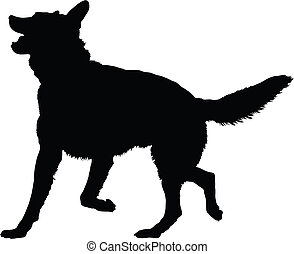 German Shepherd Silhouette - A silhouette image of a German ...