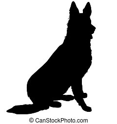 German Shepherd Silhouette - Black silhouette of a sitting...