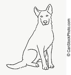 German shepherd sitting pet dog sketch