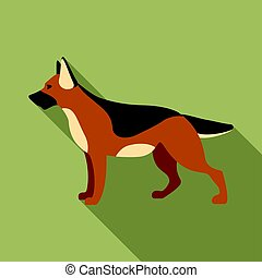 German shepherd vector icon in flat style for web