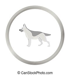 German shepherd vector icon in monochrome style for web