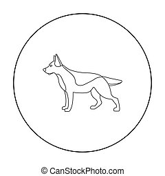 German shepherd vector icon in outline style for web