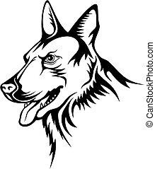 German shepherd vector - Tattoo illustration of german...