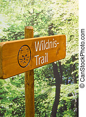 Signpost on a wilderness trail