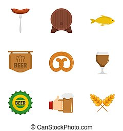 German snack icons set, flat style