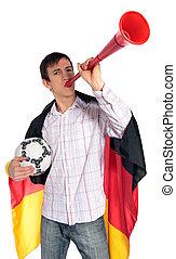 German soccer fan - A german soccer fan. All isolated on...