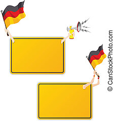 German Sport Message Frame with Flag. Set of Two