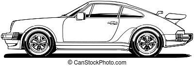 German Sports Car Side View - Black Line Illustration