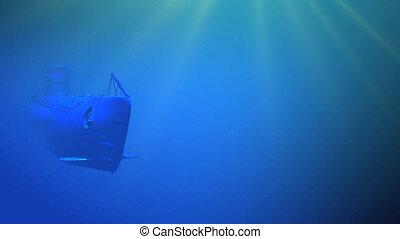 German submarine floating - Render of german diesel...