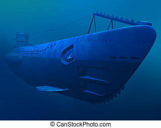 German submarine - Render of floating german diesel...