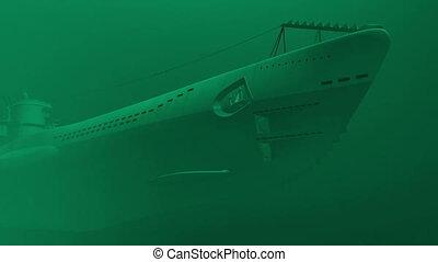 German submarine underwater - Render of floating german...