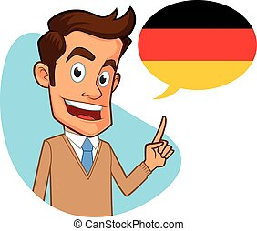 Sympathetic german teacher, he is pointing the flag