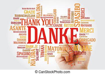 german), (thank, danke, palabra, usted, nube