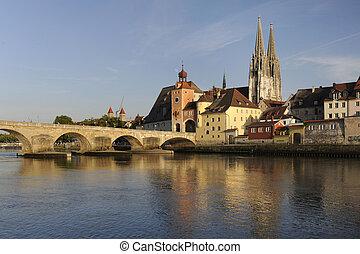 german town regensburg - famous historic old town regensburg...
