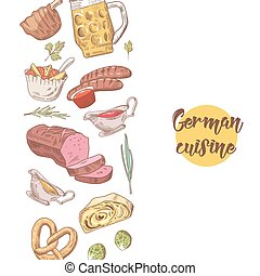 German Traditional Food Hand Drawn Background. Germany...