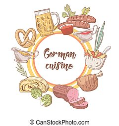 German Traditional Food Hand Drawn Doodle. Germany Cuisine...