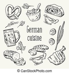 German Traditional Food Hand Drawn Outline Doodle. Germany...