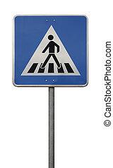 blue crosswalk sign isolated on white