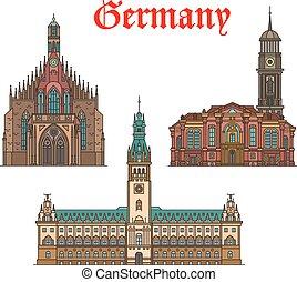 German travel landmarks icon of church, city hall