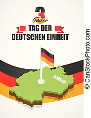 German unity day concept background, isometric style