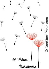 German Valentine background with dandelion seeds as hearts,...
