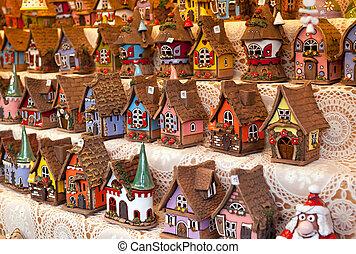 german., vente, reproductions, maisons, petit, typique