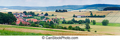 German Village - Summer German landscape - houses, hills,...