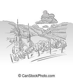 German Vineyard Print Design Background