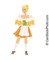 German Waitress on White Vector Illustration.