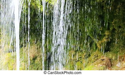 German Waterfalls in the spring . - Beautiful waterfall in...