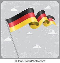 German wavy flag. Vector illustration.