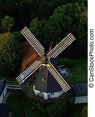 German Windmill - Windmill taken from a train crossing a...