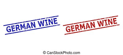 GERMAN WINE Stamps with Grunged Style and Parallel Lines