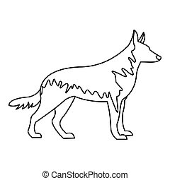 German wolfhound icon, outline style - German wolfhound...