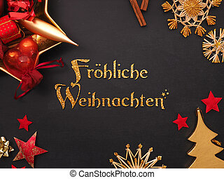 German words joyful Christmas with golden and red Christmas items