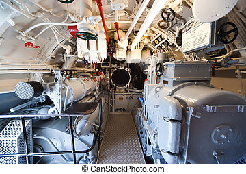 German world war 2 submarine - aft torpedo room - ultra wide...
