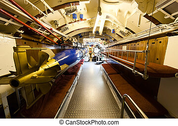 German world war 2 submarine type VIIC/41 - torpedo compartment - ultra wide angle photo