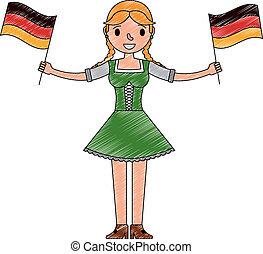 germania, bavarese, donna, bandiere, presa a terra