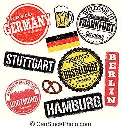 germania, francobolli, set, grunge